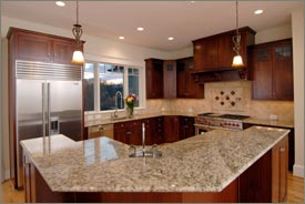 Kitchen Remodel with Brown Cabinets and Granite Countertops 2