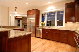 Kitchen Remodel with Brown Cabinets and Granite Countertops 4